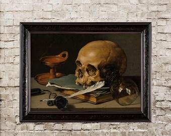 Still Life with a Skull, vanitas, fine art print, skull decor, unique style, memento mori, skull painting, skull, human skull, skull art,532