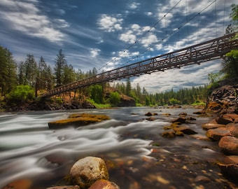 Spokane photography –  Riverside State Park bridge – Washington photo landscape – Suspension bridge travel gift – Spokane canvas wall art