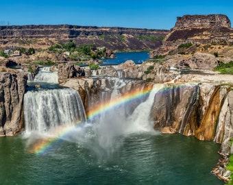 Waterfall rainbow photo – Shoshone Falls Idaho photo – Idaho waterfall canvas – Shoshone Falls travel gift vacation souvenir – Rainbow scene