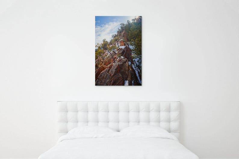 Colorado winter photo – Colorado Springs red rock – Vertical nature  photography – Snowy pine trees – Office canvas art – Bear Creek Park