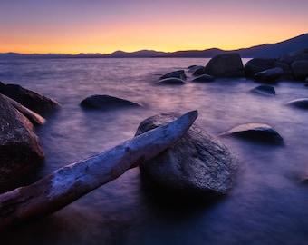 Lake Tahoe photography – Lake Tahoe sunset photo – Sunset water scene – Vacation souvenir gift – Large canvas wall art – Romantic peaceful