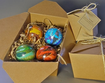 Handmade Paper Mache Christmas Ornaments Multi- Colored 2 1/2 inch Medium-sized Set of 4
