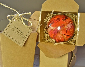 Handmade, Paper Mache Christmas Tree Ornament- Ruby Red Large 3 inch-  Art for the Trees!