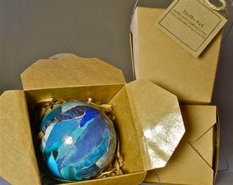 Handmade, Paper Mache  Christmas Tree Ornament- Sapphire Blue Large 3 inch-  Art for the Trees!