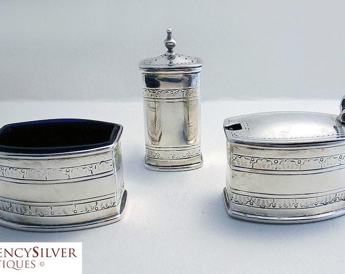 RARE LIBERTY & Co. Art Deco English Hallmark Solid Sterling Silver CRUET Set (Salt, Pepper, Pepperette, Shaker, Glass Liner, Mustard Pot)