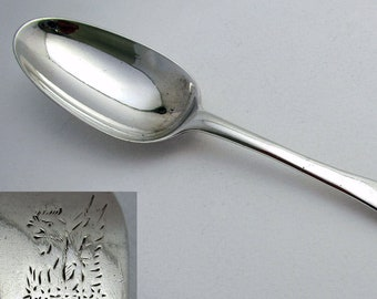 Rare George II (1740) Solid Sterling SILVER English Georgian Dessert Spoon. London 18th-Century.
