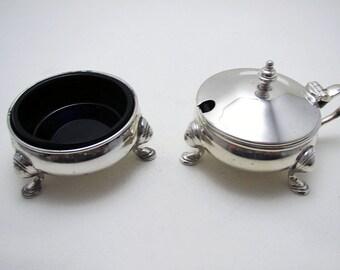 Elkington Vintage/Retro Solid Sterling Silver Salt Cellar & Mustard Pot Cruet Set. English Birmingham Hallmarked.