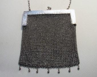RARE SHANGHAI Chinese Export (c1910) Solid Silver Antique Mesh Evening Purse/HandBag/Bag WOSHING.