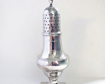Georgian - George III Antique Solid Sterling SILVER Pepper Pot Shaker Caster, Peter/William Bateman, English Hallmarked 19th-century.