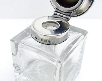 Elegant CUBE Shape Plain Sterling Silver Inkwell Ink Pot/Box. English Birmingham Hallmarked. Antique/Vintage 1924
