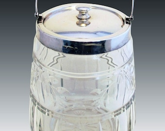Huge Vintage (1925) Solid Sterling Silver Hallmarked Mounted Lid Top & Cut Glass Biscuit Barrel. Early 20th-century.
