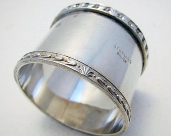 Antique c1910 Australian/Australia Solid Sterling Silver Serviette NAPKIN RING. Heavy Gauge 36g.