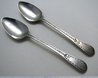 Rare Provincial c1790 Georgian-George III Solid Sterling Silver Pair Tea Spoons, William Welch Plymouth Dock, 18th-Century Exeter Hallmarked