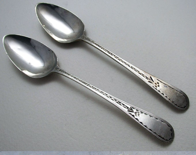 Rare Provincial (c1790) Georgian-George III Solid Sterling Silver Pair Tea Spoons, William Welch Plymouth Dock, 18th-Century Exeter.