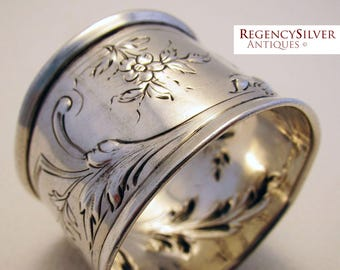 Antique French (c1890) Aesthetic Sterling Silver Hallmarked Serviette NAPKIN RING. 19th-century. Minerva .950