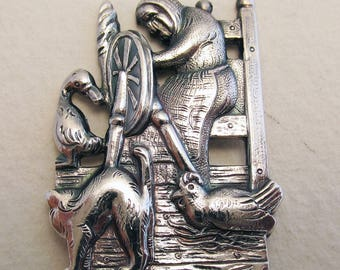 The Ugly Duckling-Danish/Denmark. Hans Christian Andersen Fairy Tales Children Story NOVELTY Solid Silver Spoon. COHR