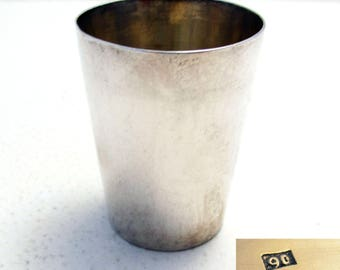 ANTIQUE Chinese Export (c1910) Solid Sterling Silver Shot Glass Tot Cup Small Beaker. Maker WANG HING