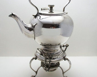 Rare Bachelors Size Antique English Victorian c1890 Silver Plated SPIRIT KETTLE, Tea Pot & Stand. 19th-Century.