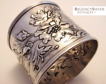 Antique French (c1890) Art Nouveau Solid Silver Hallmarked Large Serviette NAPKIN RING. 19th-century