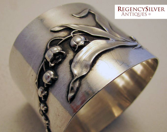 Featured listing image: Beautiful Antique French (c1890) Sterling Silver Hallmark Large Serviette NAPKIN RING. 19th-century. Minerva .950. Muguet/Lily of the valley