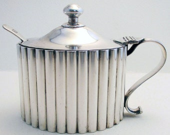 Huge Hamilton & Co. Rare Indian Colonial Solid Silver 900+ Mustard Pot, India Calcutta.
