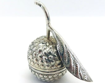 Novelty Cambodian or Burmese Vintage Silver Plated Fruit Snuff/Pill Box, Stamped T90.