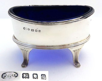 Large Vintage Solid Sterling Silver & Bristol Blue Glass Liner Salt Cellar Cruet. Georgian style. English Hallmarked.