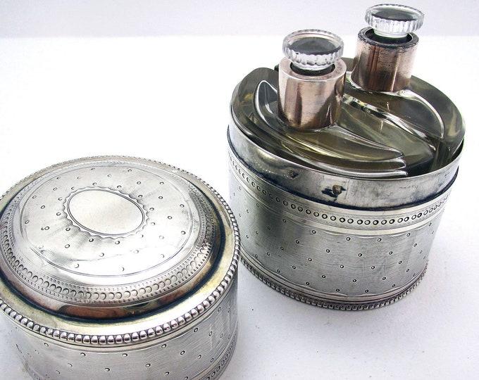 Antique FRENCH Solid Sterling Silver DOUBLE Scent Perfume Bottle Case Box, Edouard Fournemet, Paris c1910.