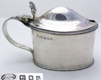 Heavy Vintage Solid Sterling Silver & Bristol Blue Glass Liner Mustard Pot Cruet. Georgian style. English Hallmarked.