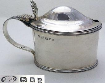 Large Vintage Solid Sterling Silver & Bristol Blue Glass Liner Mustard Pot Cruet. Georgian style. English Hallmarked.