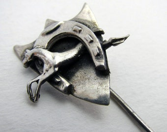 Solid Sterling SILVER Horse Shoe Equestrian 1930 Art Deco Lapel Stick Hat Pin, Antique/Vintage, Early 20th-Century.