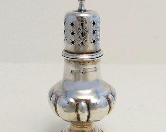 ANTIQUE (1901) Solid Sterling Silver Salt/Pepper Pot Jar Bottle Shaker Caster Pepperette. Victorian/Edwardian.