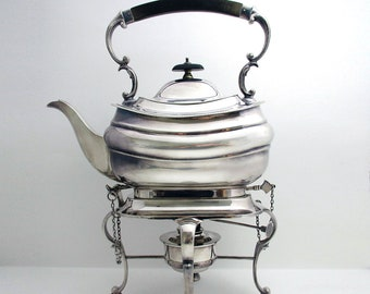Top Quality Antique Victorian (c.1890) Silver Plated English SPIRIT KETTLE, Tea Pot Stand Spirit Burner.