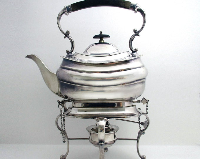 Featured listing image: Top Quality Antique Victorian (c.1890) Silver Plated English SPIRIT KETTLE, Tea Pot Stand Spirit Burner.