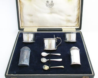 Rare Indian Colonial c1910 Hamilton & Co. of Calcutta Solid Sterling Silver Cruet Set  (salt cellar, pepper pot, mustard pot, spoons).