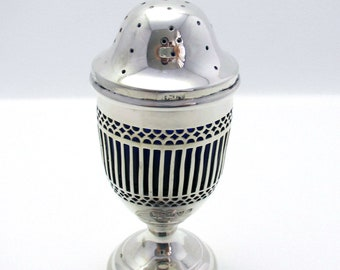 Large 63.5g, Antique Edwardian (1913) Solid Sterling Silver Salt/Pepper Pot Jar Bottle Shaker Caster Pepperette. English Chester Hallmarked.