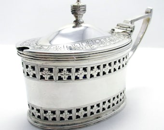 Large Victorian (1885) Pierced Solid Sterling Silver Bristol Blue Glass Liner Antique Mustard Pot Cruet, English Hallmarked Martin Hall & Co