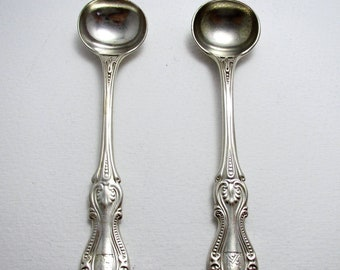 Pair Antique Victorian 1868 Rich Bead or Prince of Wales Pattern Solid Sterling Silver Salt/Condiment/Mustard Pot Spoons. Elkington