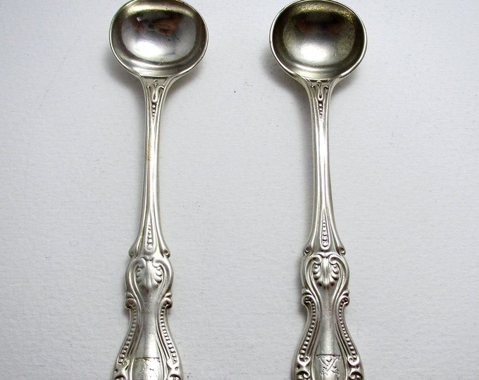 Pair Antique Victorian (1868) Rich Bead or Prince of Wales Pattern Solid Sterling Silver Salt/Condiment/Mustard Pot Spoons. Elkington