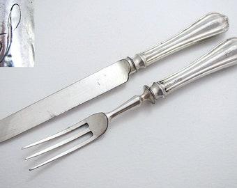 Pair Monogram 'S', Sheffield Vintage Art Deco Sterling Silver Handled Tea Knife & Fork.