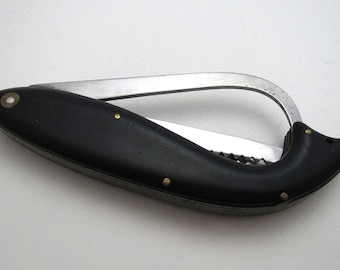 Rare Japanese Fish Fishing Gaff Large Folding Knife, c1950 Vintage Japan Stainless Steel.