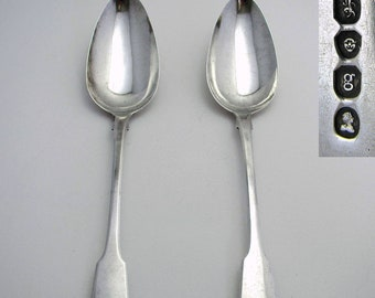 "Large Pair Monogram ""EP"" Georgian 1822 Solid Sterling SILVER English Antique Table Serving Spoons. Regency/George IV."
