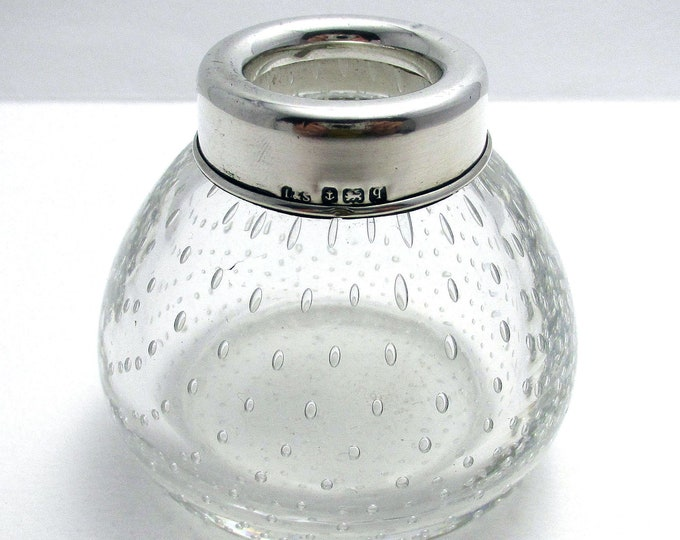 Elegant (1915) Antique Solid Sterling Silver Mounted & Controlled Bubble/Bullicante Glass Pot Jar Container.