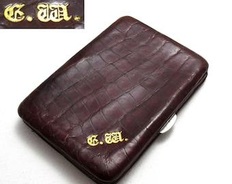 Monogram 'GW' Vintage 30s Crocodile Skin Leather Wallet Purse Name Card Stamp Case