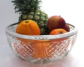 Edwardian (1905) Solid Sterling Silver Rim Mounted Cut Glass Large Fruit Bowl Dish English Antique