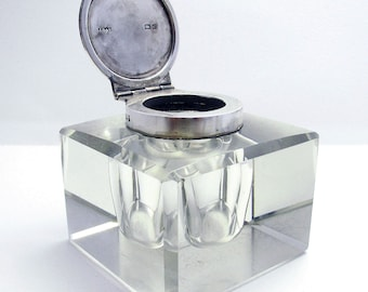 Elegant Large CUBE (1902) Antique Edwardian Solid Sterling Silver & Cut Glass English Inkwell Ink Pot Box, Plain.