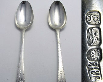 Large Pair Hester Bateman (1782) Georgian-George III Solid Sterling SILVER Bright-Cut Antique Table Serving Spoons