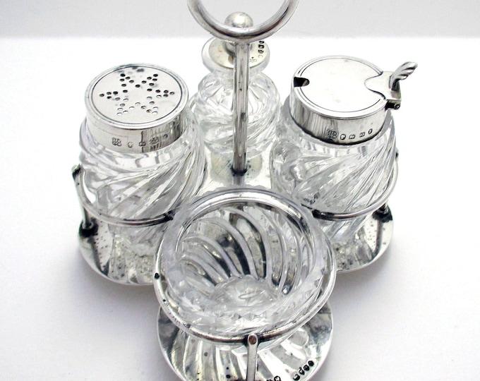 Rare Hukin & Heath/Christopher Dresser Solid Sterling Silver Glass Antique 4-piece Cruet Set: Pepper Mustard Pot/Cayenne Snuff Spoon/Salt