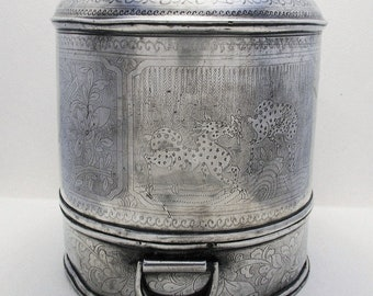 Rare Chinese Antique (c1900) Pewter Food Basket Steamer Dish Warmer Tea Caddy Box.