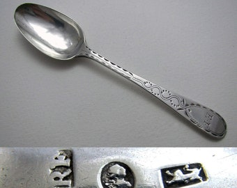 Exeter c.1790 George III Solid Sterling Silver Bright-cut Provincial Georgian Tea Spoon, Richard Ferris, 18th-Century.